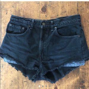 Levi's black denim shorts.